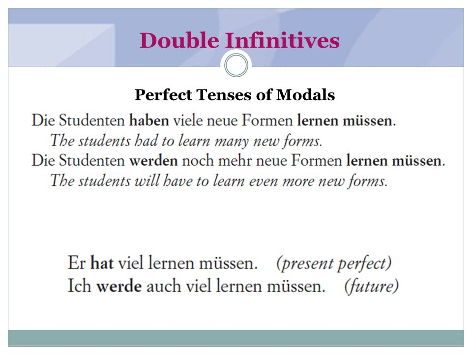 Double Infinitives with Other Verbs
