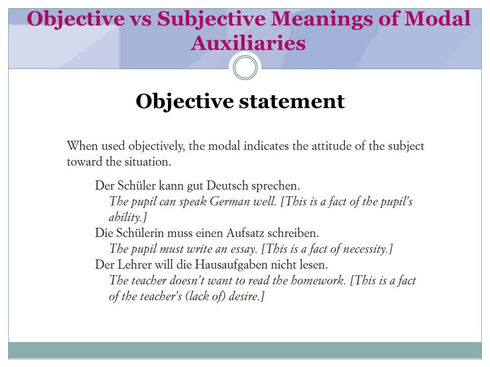 Objective vs Subjective Meanings of Modal Auxiliaries Subjective statement