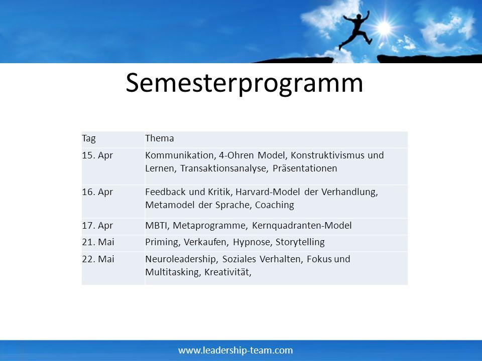 www.leadership-team.com Semesterprogramm TagThema 15.
