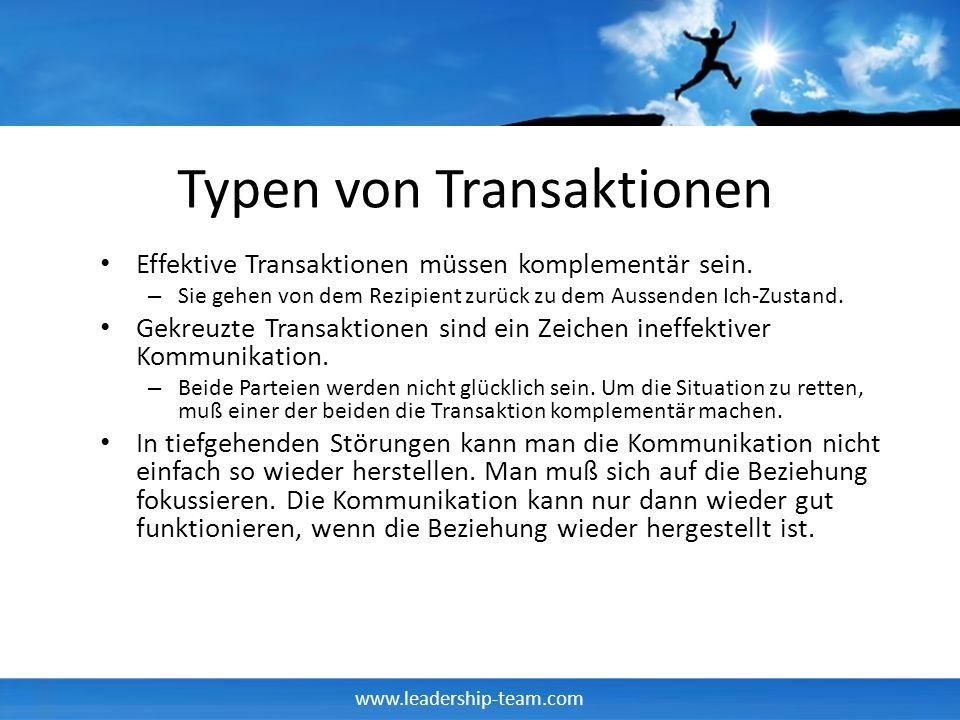 www.leadership-team.com Typen von Transaktionen Effektive Transaktionen müssen komplementär sein.