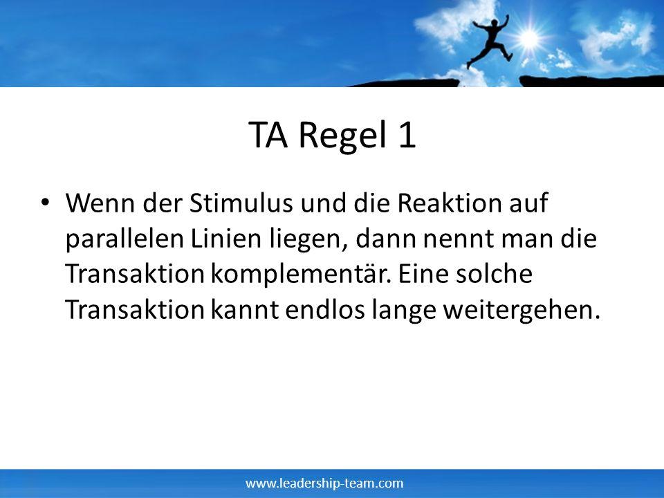 www.leadership-team.com TA Regel 1 Wenn der Stimulus und die Reaktion auf parallelen Linien liegen, dann nennt man die Transaktion komplementär.