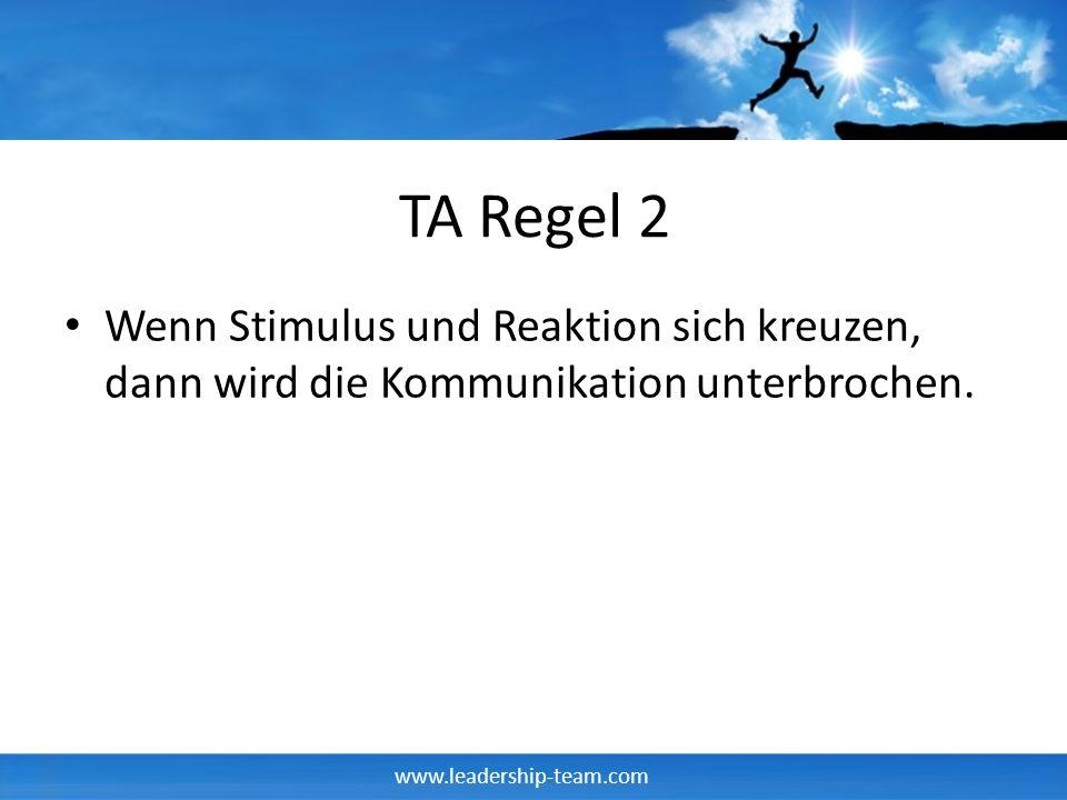 www.leadership-team.com TA Regel 2 Wenn Stimulus und Reaktion sich kreuzen, dann wird die Kommunikation unterbrochen.