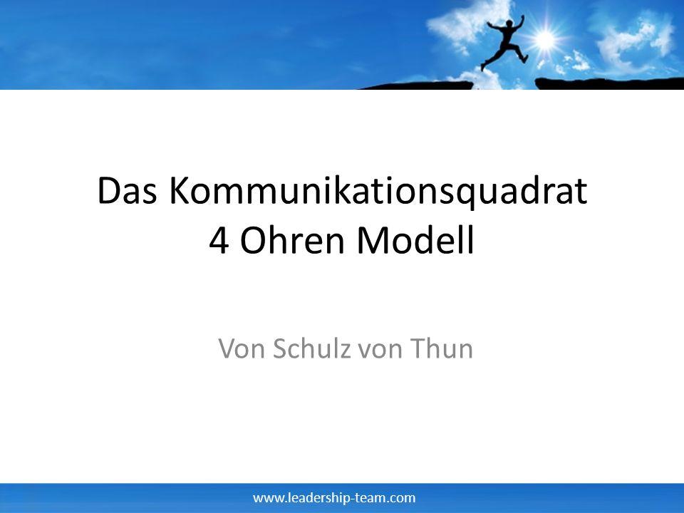 www.leadership-team.com Das Kommunikationsquadrat 4 Ohren Modell Von Schulz von Thun