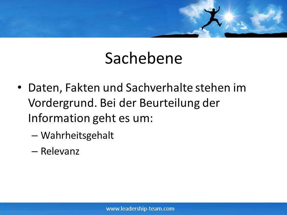 www.leadership-team.com Teile Deines Ich Gelerntes Konzept des Lebens Erdachtes Konzept des Lebens Gefühltes Konzept des Lebens P A C