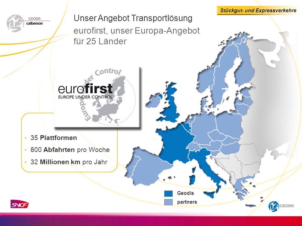Stückgut- und Expressverkehre Geodis partners Unser Angebot Transportlösung eurofirst, unser Europa-Angebot für 25 Länder 35 Plattformen 800 Abfahrten pro Woche 32 Millionen km pro Jahr