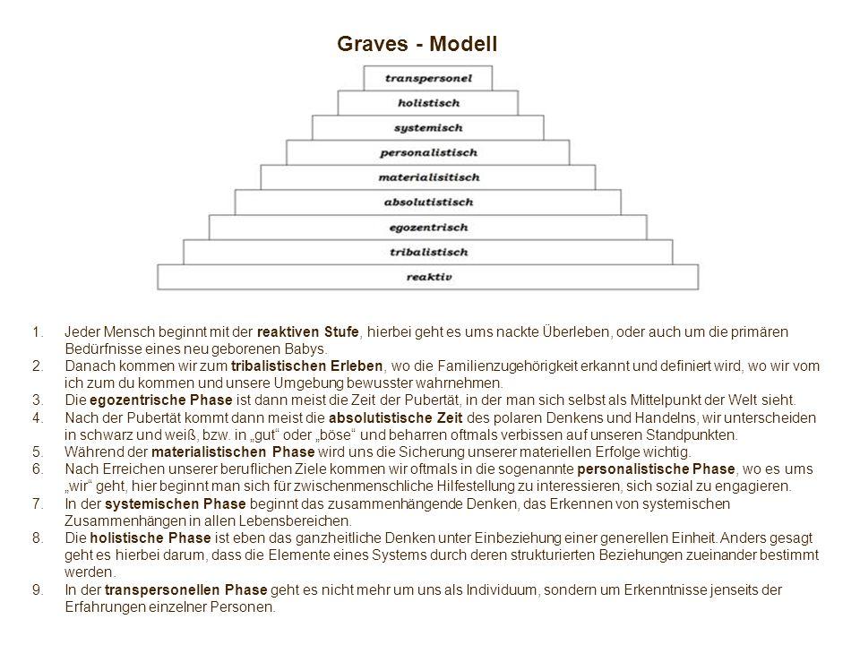 Graves - Modell 1.Jeder Mensch beginnt mit der reaktiven Stufe, hierbei geht es ums nackte Überleben, oder auch um die primären Bedürfnisse eines neu geborenen Babys.