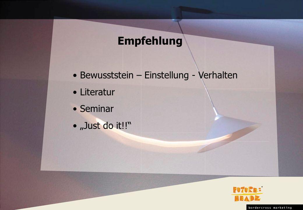 Bewusststein – Einstellung - Verhalten Literatur Seminar Just do it!! Empfehlung