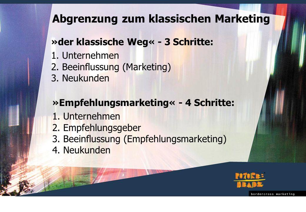 »Empfehlungsmarketing« - 4 Schritte: 1. Unternehmen 2. Empfehlungsgeber 3. Beeinflussung (Empfehlungsmarketing) 4. Neukunden »der klassische Weg« - 3