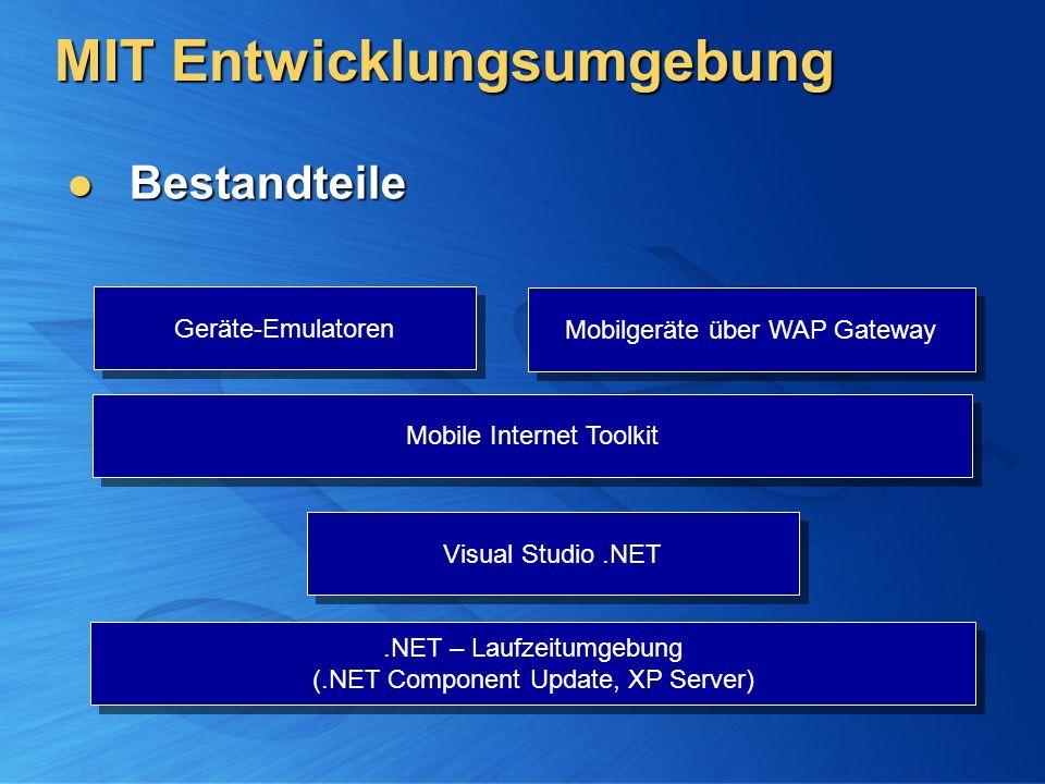 MIT Entwicklungsumgebung Bestandteile Bestandteile Mobile Internet Toolkit Visual Studio.NET.NET – Laufzeitumgebung (.NET Component Update, XP Server) Geräte-Emulatoren Mobilgeräte über WAP Gateway