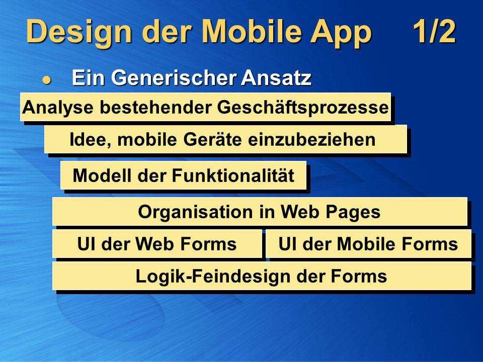 Design der Mobile App1/2 Ein Generischer Ansatz Ein Generischer Ansatz Idee, mobile Geräte einzubeziehen Modell der Funktionalität Organisation in Web Pages UI der Web Forms UI der Mobile Forms Logik-Feindesign der Forms Analyse bestehender Geschäftsprozesse