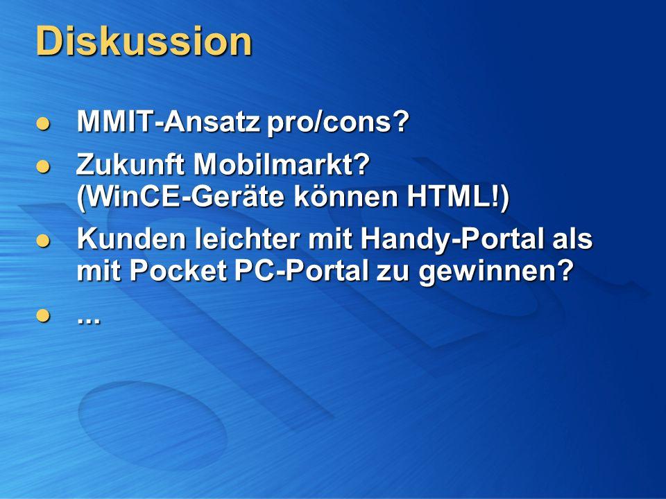 Diskussion MMIT-Ansatz pro/cons. MMIT-Ansatz pro/cons.