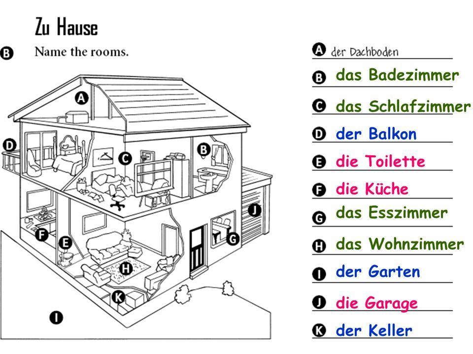 das Badezimmer das Schlafzimmer der Balkon die Toilette die Küche das Esszimmer das Wohnzimmer der Garten die Garage der Keller