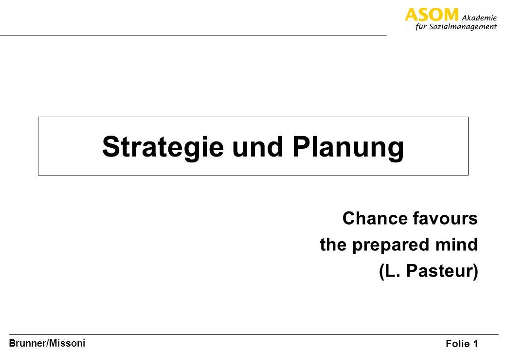 Folie 2 SOM A8 Brunner/Missoni Strategieentwicklung - Übersicht Analyse der Ausgangssituation (IST) Mission – Leitbild Strategien (SOLL) Operative Planung Strategische Ziele Inhaltlich, finanziell, Menge Umsetzung Strategische und Operative Kontrolle