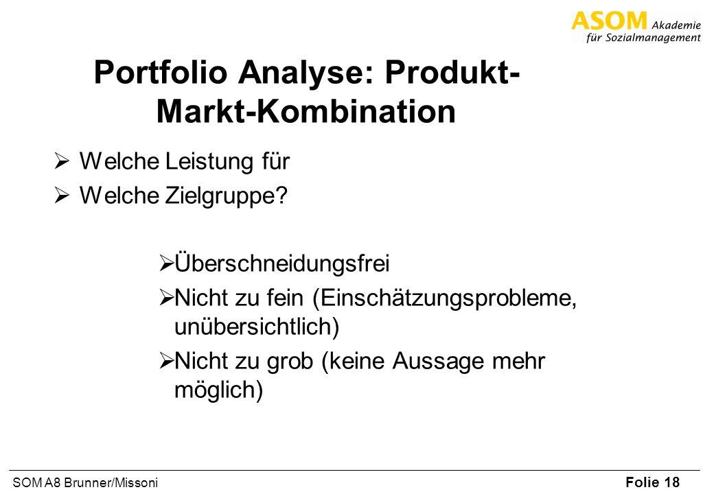 Folie 18 SOM A8 Brunner/Missoni Portfolio Analyse: Produkt- Markt-Kombination Welche Leistung für Welche Zielgruppe? Überschneidungsfrei Nicht zu fein