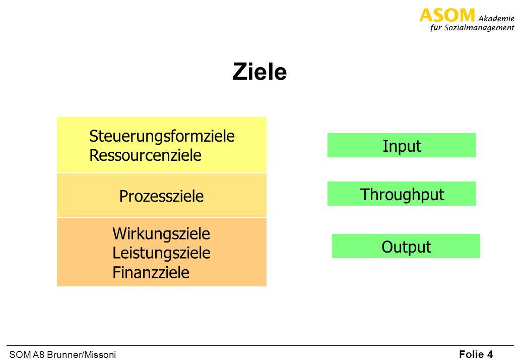 Folie 4 SOM A8 Brunner/Missoni Ziele Input Throughput Output Steuerungsformziele Ressourcenziele Wirkungsziele Leistungsziele Finanzziele Prozessziele