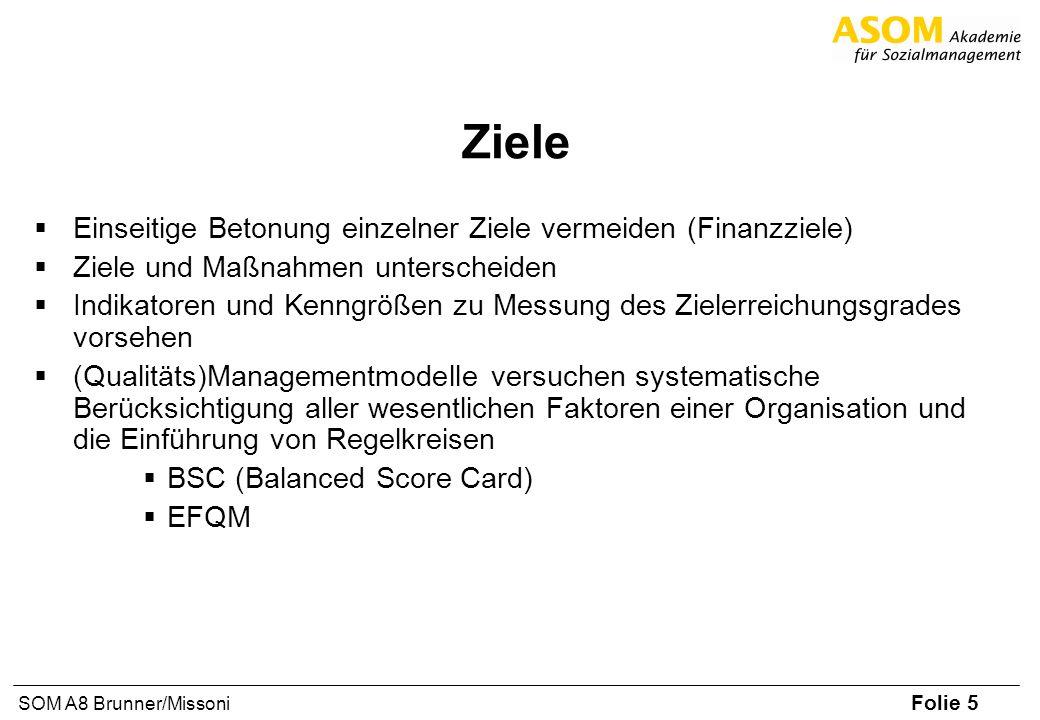 Folie 6 SOM A8 Brunner/Missoni Beispiel: Aufbau BSC Vision Prozesse Mitarbeiter / Innovation Finanzen Kunden / Markt Für jede Dimension sind abgeleitet zu definieren: Ziele Maßnahmen Kennzahlen / Indikatoren für Zielerreichung
