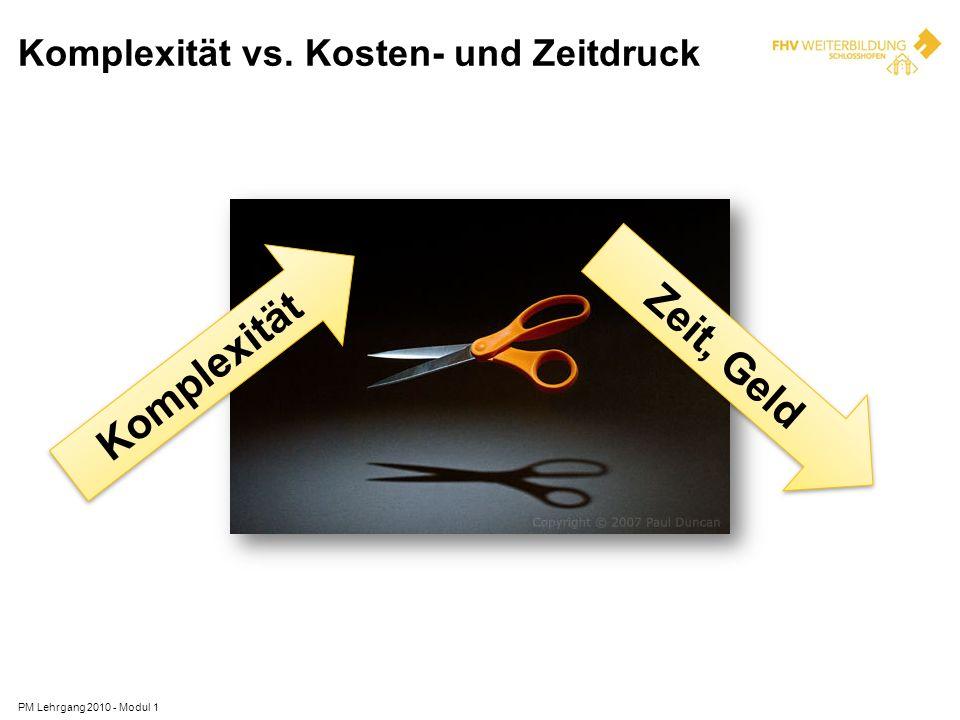 Komplexität vs. Kosten- und Zeitdruck PM Lehrgang 2010 - Modul 1 Komplexität Zeit, Geld