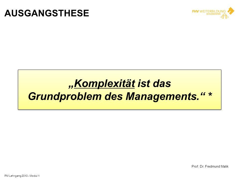 AUSGANGSTHESE PM Lehrgang 2010 - Modul 1 Komplexität ist das Grundproblem des Managements. * Komplexität ist das Grundproblem des Managements. * Prof.