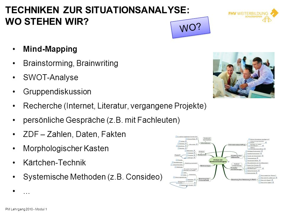 TECHNIKEN ZUR SITUATIONSANALYSE: WO STEHEN WIR? PM Lehrgang 2010 - Modul 1 Mind-Mapping Brainstorming, Brainwriting SWOT-Analyse Gruppendiskussion Rec