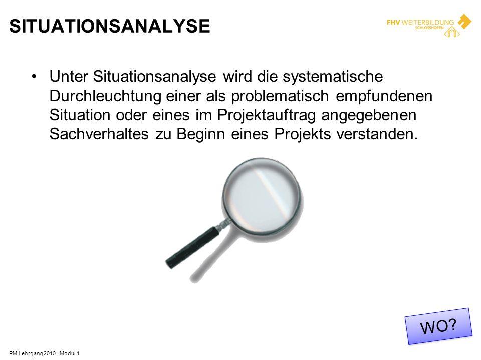 SITUATIONSANALYSE Unter Situationsanalyse wird die systematische Durchleuchtung einer als problematisch empfundenen Situation oder eines im Projektauf