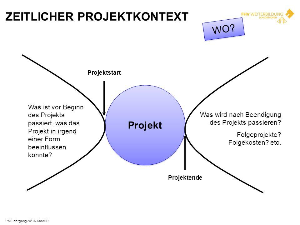 ZEITLICHER PROJEKTKONTEXT PM Lehrgang 2010 - Modul 1 Projekt Was ist vor Beginn des Projekts passiert, was das Projekt in irgend einer Form beeinfluss