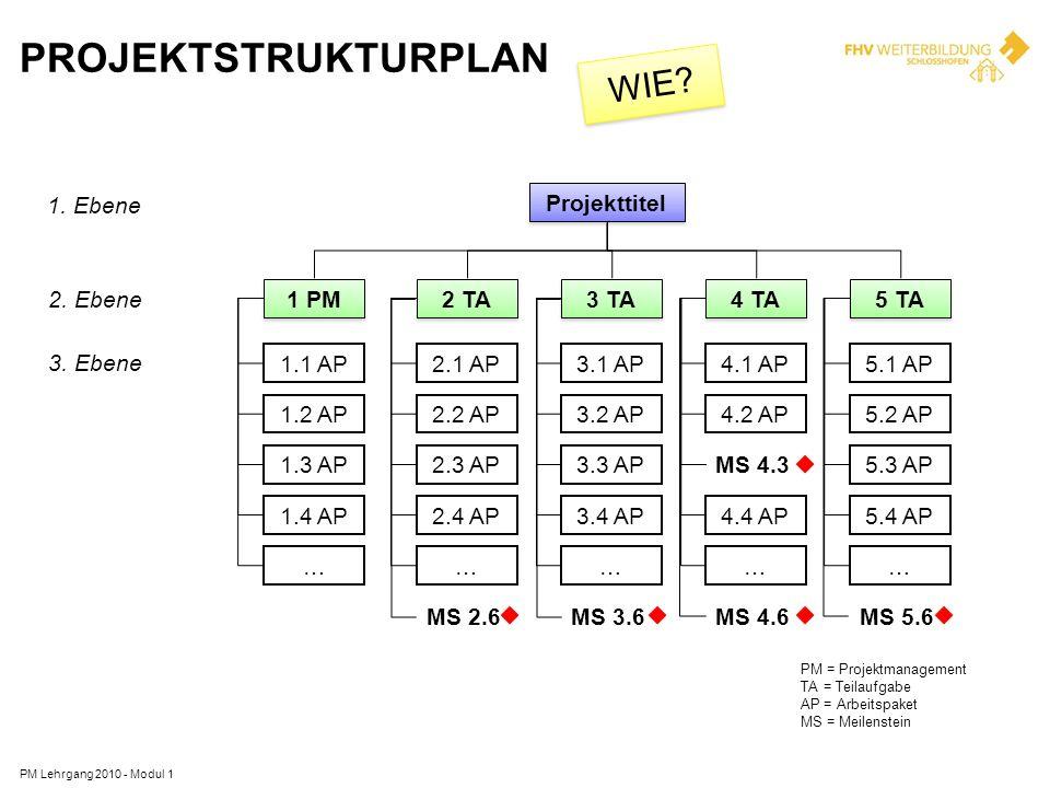 PROJEKTSTRUKTURPLAN PM Lehrgang 2010 - Modul 1 1. Ebene 2. Ebene 3. Ebene Projekttitel 2 TA 2.1 AP 2.2 AP 2.3 AP 2.4 AP … 3 TA 3.1 AP 3.2 AP 3.3 AP 3.