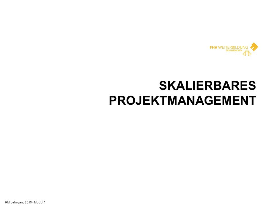 SKALIERBARES PROJEKTMANAGEMENT PM Lehrgang 2010 - Modul 1