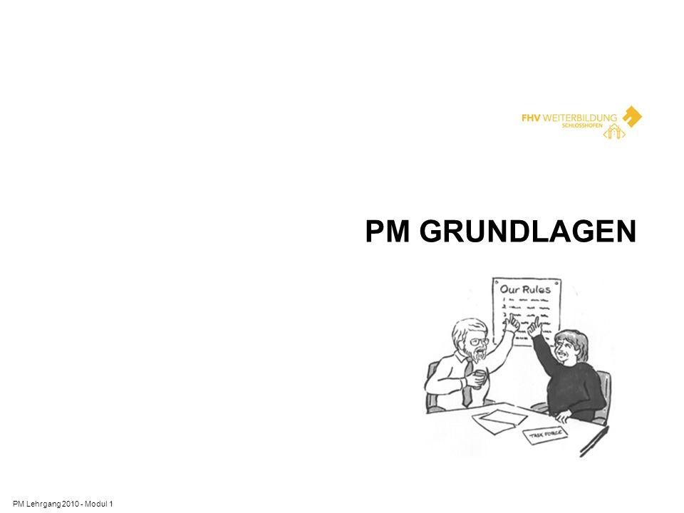 BEDEUTUNG VON PM PM Lehrgang 2010 - Modul 1