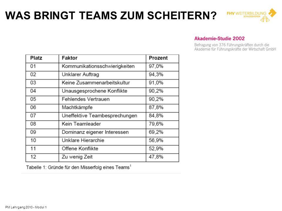WAS BRINGT TEAMS ZUM SCHEITERN? PM Lehrgang 2010 - Modul 1