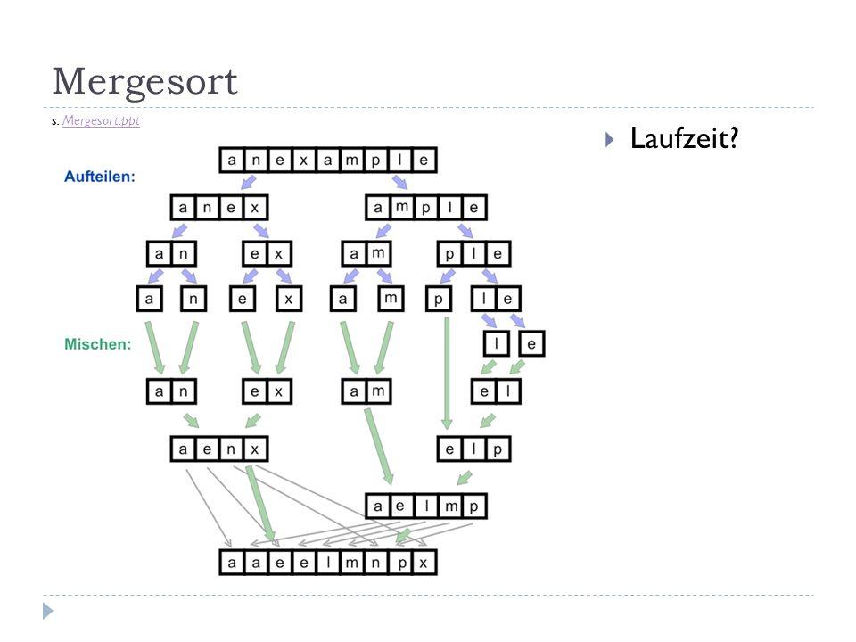 Mergesort Laufzeit? s. Mergesort.pptMergesort.ppt