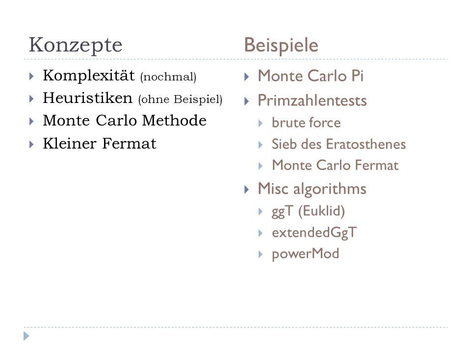 Konzepte Beispiele Komplexität (nochmal) Heuristiken (ohne Beispiel) Monte Carlo Methode Kleiner Fermat Monte Carlo Pi Primzahlentests brute force Sie