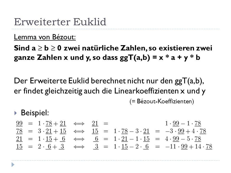 Erweiterter Euklid Lemma von Bézout: Sind a b 0 zwei natürliche Zahlen, so existieren zwei ganze Zahlen x und y, so dass ggT(a,b) = x * a + y * b Der