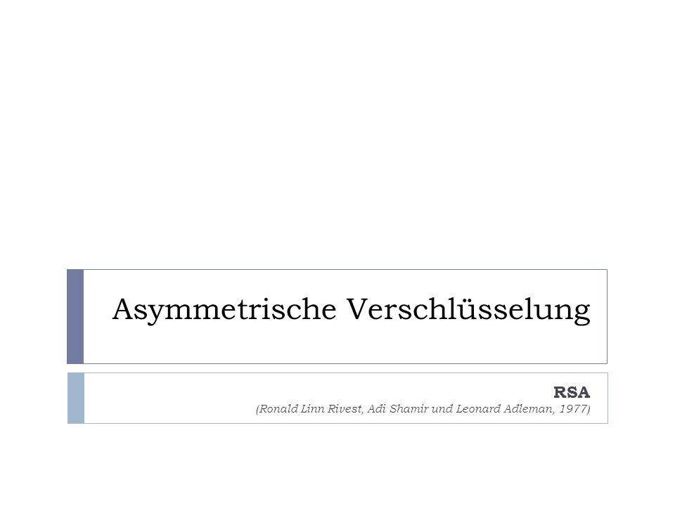 Asymmetrische Verschlüsselung RSA (Ronald Linn Rivest, Adi Shamir und Leonard Adleman, 1977)