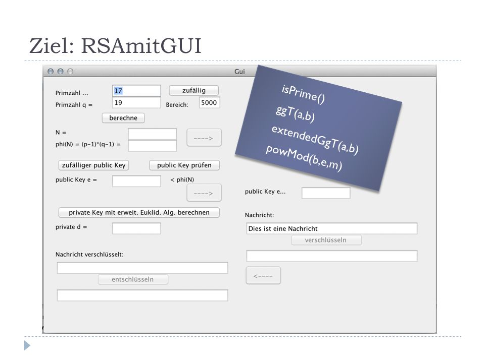 Ziel: RSAmitGUI isPrime() ggT(a,b) extendedGgT(a,b) powMod(b,e,m) isPrime() ggT(a,b) extendedGgT(a,b) powMod(b,e,m)