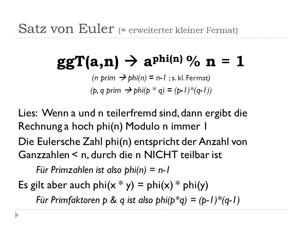 Satz von Euler (= erweiterter kleiner Fermat) ggT(a,n) a phi(n) % n = 1 (n prim phi(n) = n-1 ; s. kl. Fermat ) (p, q prim phi(p * q) = (p-1)*(q-1)) Li