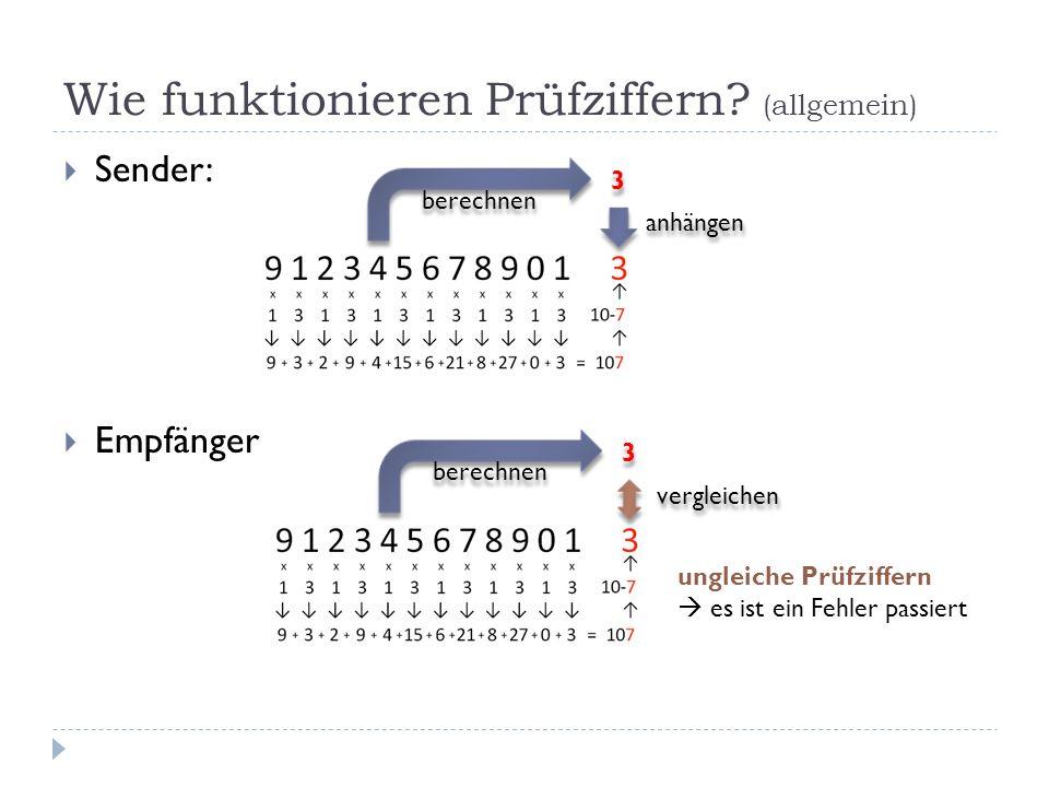 Wie funktionieren Prüfziffern? (allgemein) Sender: Empfänger berechnen 3 3 anhängen berechnen 3 3 vergleichen ungleiche Prüfziffern es ist ein Fehler