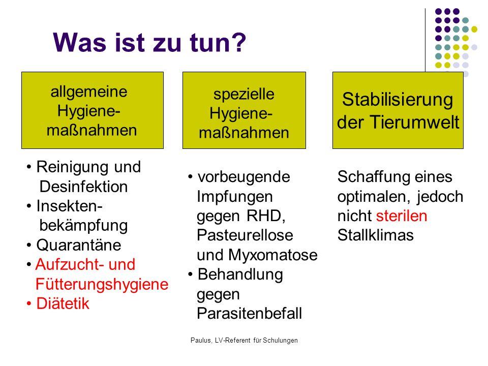 Paulus, LV-Referent für Schulungen Hemmung des Erregerwachstums Verabreichung von Antibiotika ab dem 1.