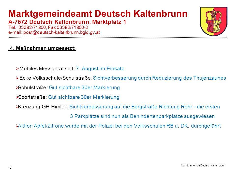 10 Marktgemeinde Deutsch Kaltenbrunn Marktgemeindeamt Deutsch Kaltenbrunn A-7572 Deutsch Kaltenbrunn, Marktplatz 1 Tel.: 03382/71800, Fax 03382/71800-