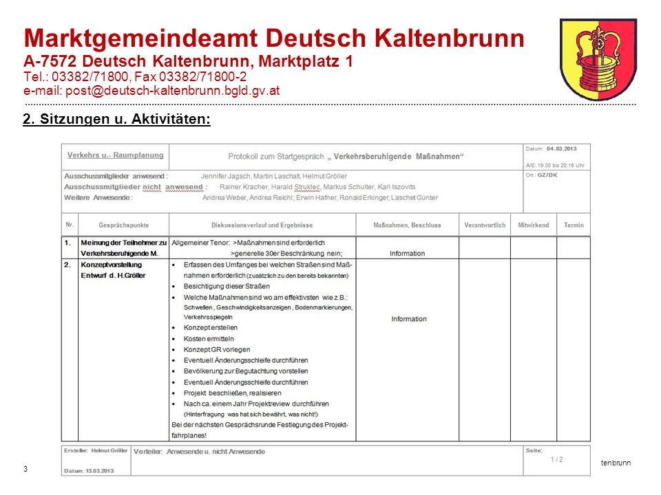 3 Marktgemeinde Deutsch Kaltenbrunn Marktgemeindeamt Deutsch Kaltenbrunn A-7572 Deutsch Kaltenbrunn, Marktplatz 1 Tel.: 03382/71800, Fax 03382/71800-2 e-mail: post@deutsch-kaltenbrunn.bgld.gv.at 2.