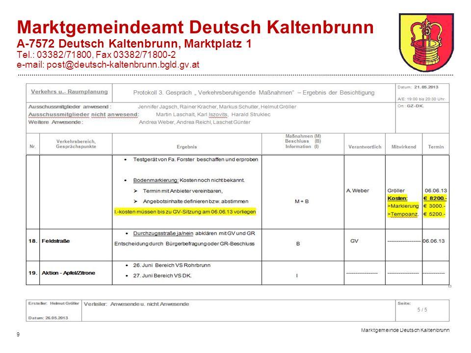 Marktgemeinde Deutsch Kaltenbrunn 9 Marktgemeindeamt Deutsch Kaltenbrunn A-7572 Deutsch Kaltenbrunn, Marktplatz 1 Tel.: 03382/71800, Fax 03382/71800-2