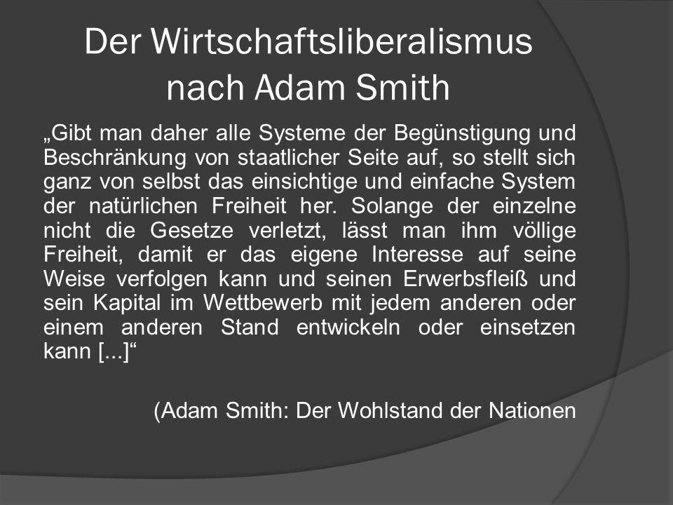 Der Wirtschaftsliberalismus nach Adam Smith Gibt man daher alle Systeme der Begünstigung und Beschränkung von staatlicher Seite auf, so stellt sich ga