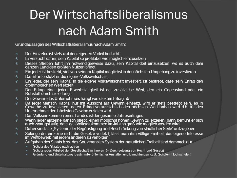 Der Wirtschaftsliberalismus nach Adam Smith Grundaussagen des Wirtschaftsliberalismus nach Adam Smith: Der Einzelne ist stets auf den eigenen Vorteil