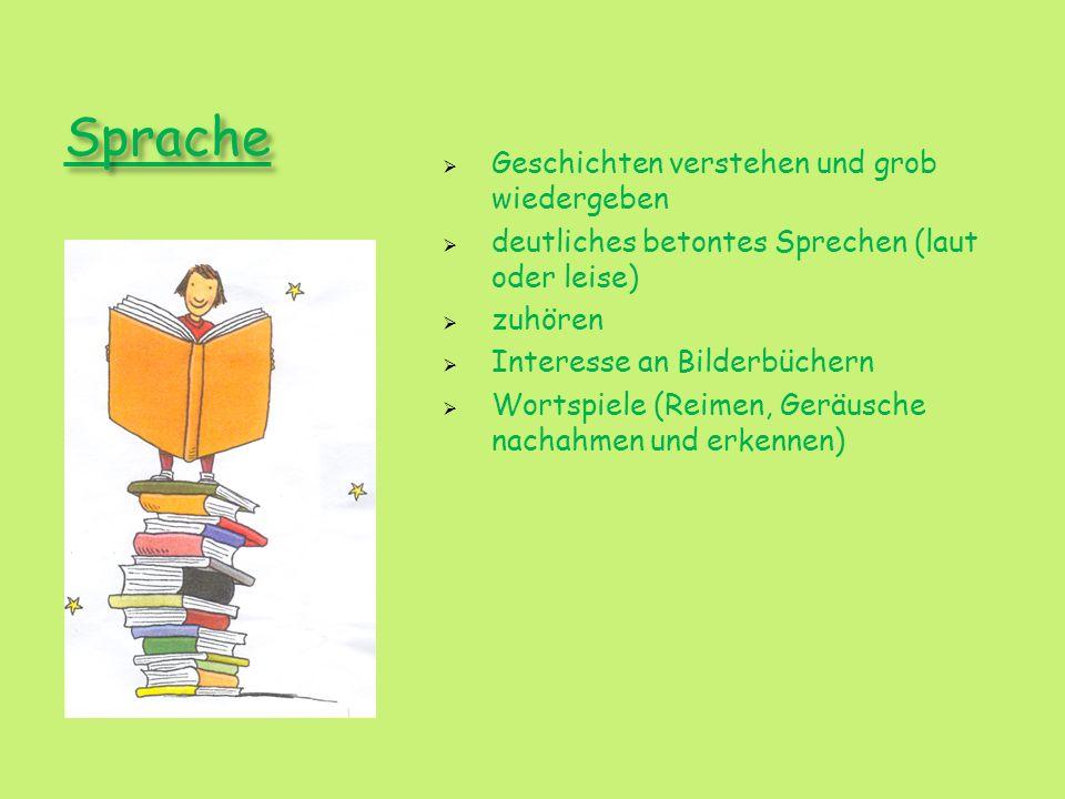 Sprache Geschichten verstehen und grob wiedergeben deutliches betontes Sprechen (laut oder leise) zuhören Interesse an Bilderbüchern Wortspiele (Reime