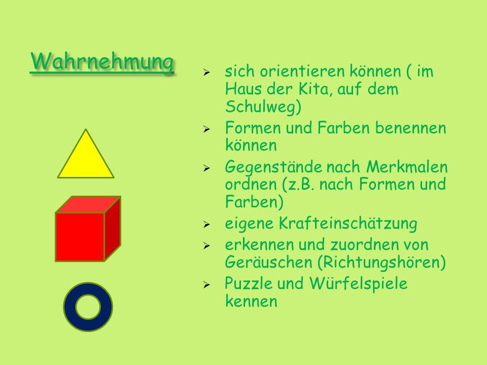 Wahrnehmung sich orientieren können ( im Haus der Kita, auf dem Schulweg) Formen und Farben benennen können Gegenstände nach Merkmalen ordnen (z.B. na