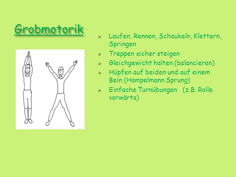 Grobmotorik Laufen, Rennen, Schaukeln, Klettern, Springen Treppen sicher steigen Gleichgewicht halten (balancieren) Hüpfen auf beiden und auf einem Be