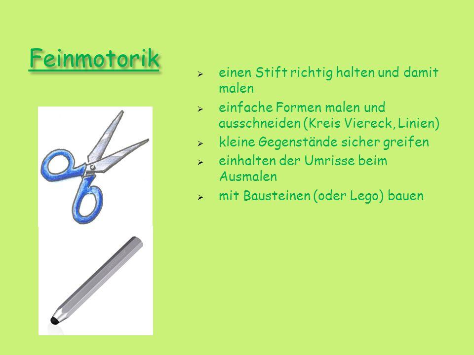Feinmotorik einen Stift richtig halten und damit malen einfache Formen malen und ausschneiden (Kreis Viereck, Linien) kleine Gegenstände sicher greife