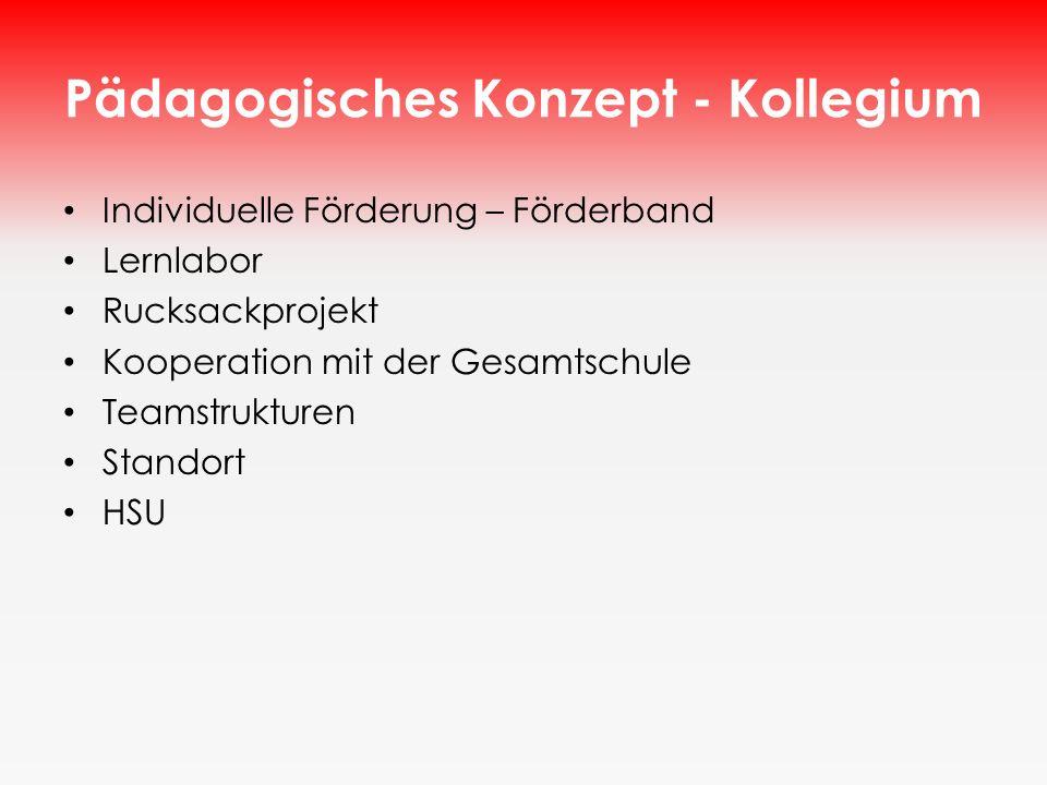 Pädagogisches Konzept - Kollegium Individuelle Förderung – Förderband Lernlabor Rucksackprojekt Kooperation mit der Gesamtschule Teamstrukturen Stando