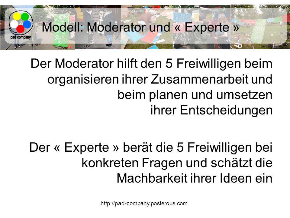 http://pad-company.posterous.com Modell: Moderator und « Experte » Der Moderator hilft den 5 Freiwilligen beim organisieren ihrer Zusammenarbeit und beim planen und umsetzen ihrer Entscheidungen Der « Experte » berät die 5 Freiwilligen bei konkreten Fragen und schätzt die Machbarkeit ihrer Ideen ein