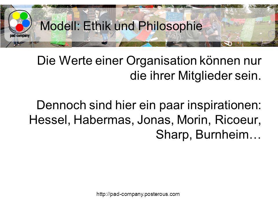 http://pad-company.posterous.com Modell: Ethik und Philosophie Die Werte einer Organisation können nur die ihrer Mitglieder sein.