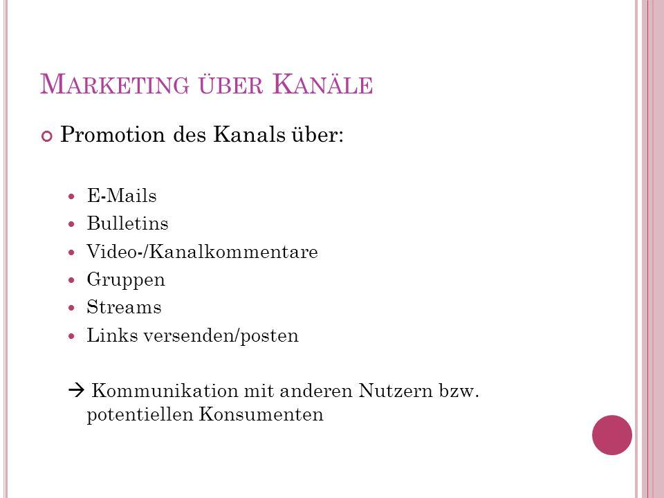 M ARKETING ÜBER K ANÄLE Promotion des Kanals über: E-Mails Bulletins Video-/Kanalkommentare Gruppen Streams Links versenden/posten Kommunikation mit anderen Nutzern bzw.